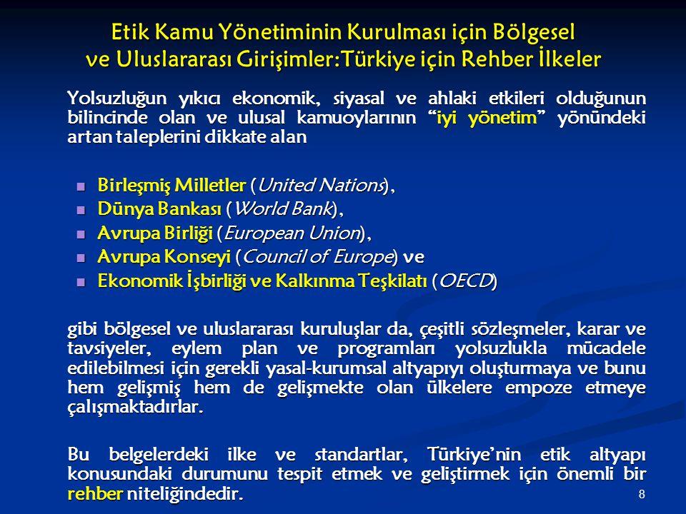 Etik Kamu Yönetiminin Kurulması için Bölgesel ve Uluslararası Girişimler:Türkiye için Rehber İlkeler