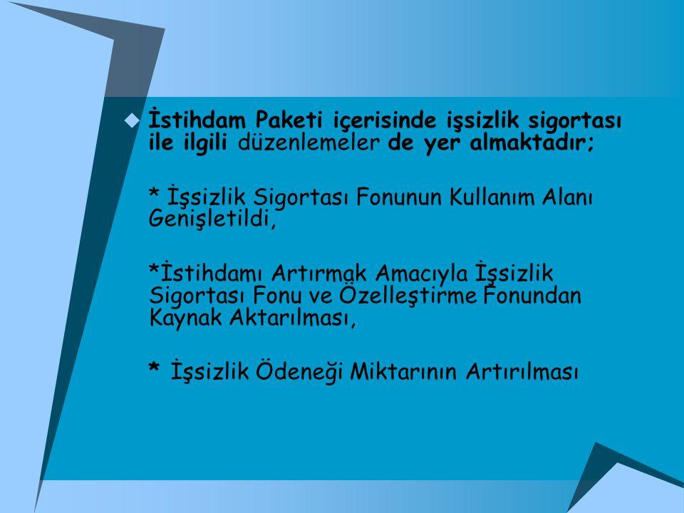 İstihdam Paketi içerisinde işsizlik sigortası ile ilgili düzenlemeler de yer almaktadır;