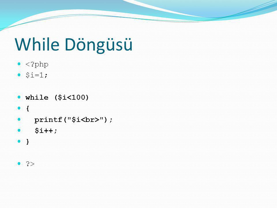 While Döngüsü < php $i=1; while ($i<100) {