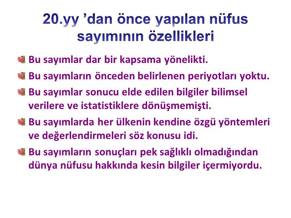 20.yy 'dan önce yapılan nüfus sayımının özellikleri