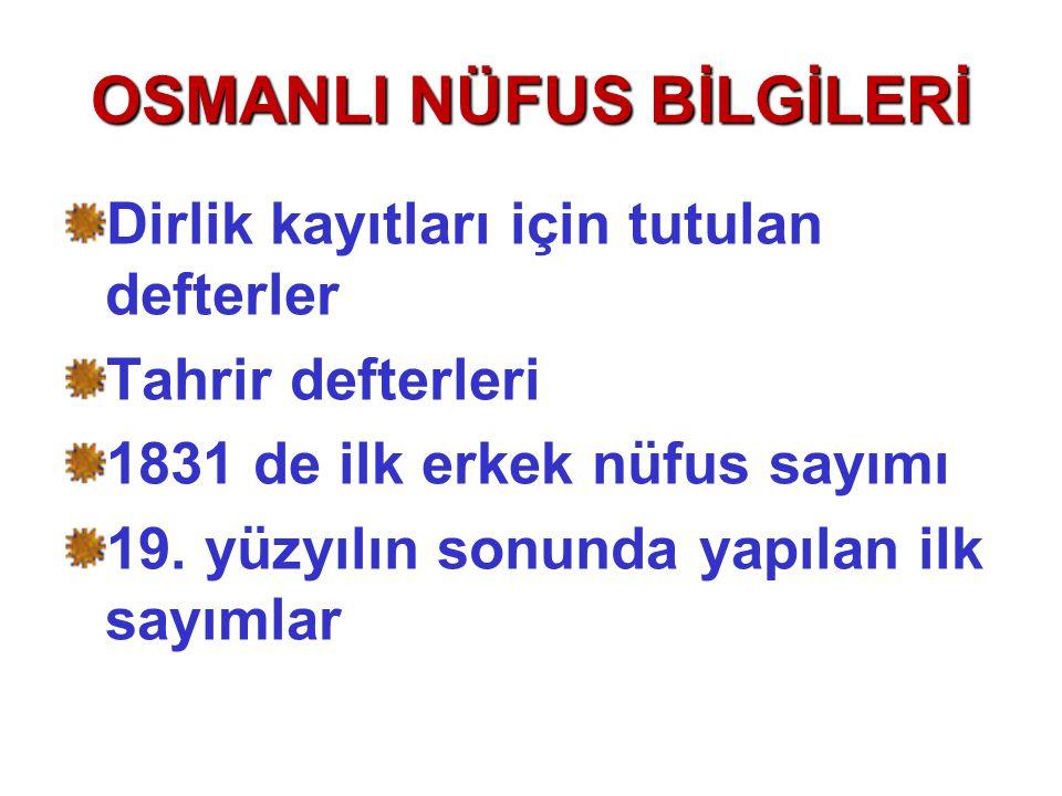 OSMANLI NÜFUS BİLGİLERİ