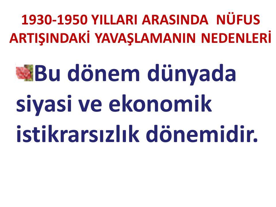 1930-1950 YILLARI ARASINDA NÜFUS ARTIŞINDAKİ YAVAŞLAMANIN NEDENLERİ