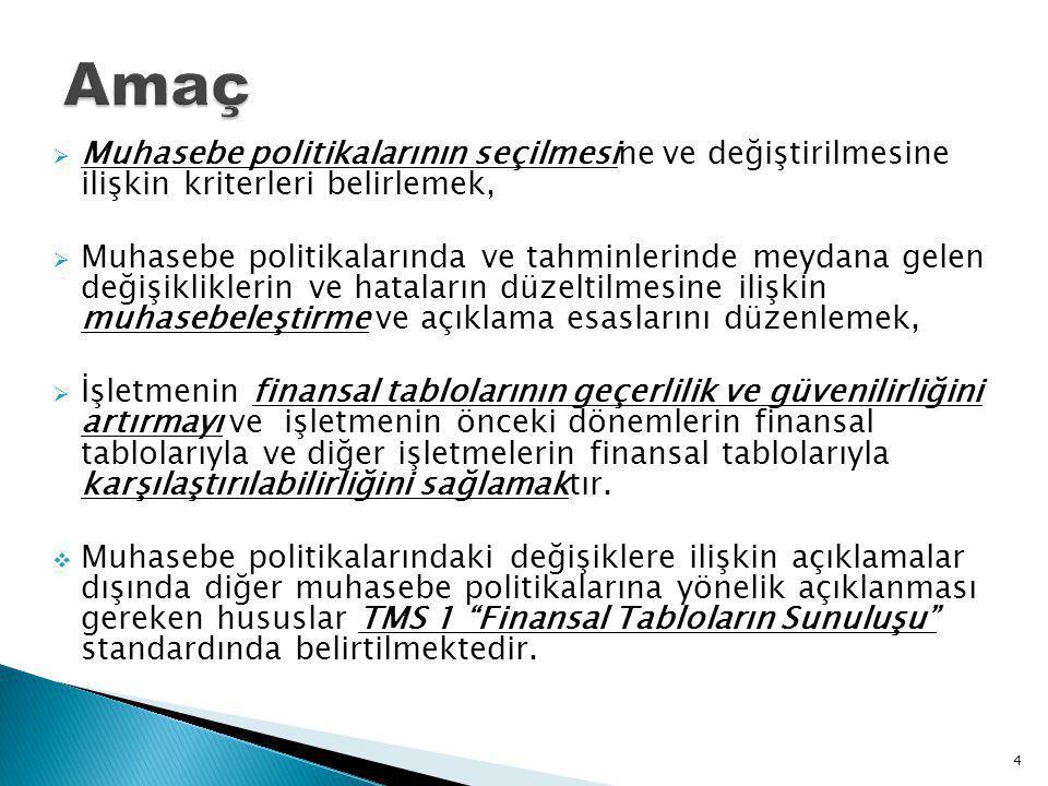 Amaç Muhasebe politikalarının seçilmesine ve değiştirilmesine ilişkin kriterleri belirlemek,