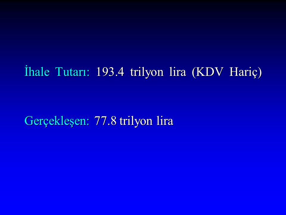 İhale Tutarı: 193.4 trilyon lira (KDV Hariç)