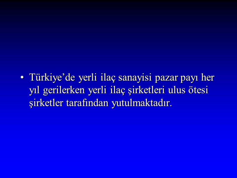 Türkiye'de yerli ilaç sanayisi pazar payı her yıl gerilerken yerli ilaç şirketleri ulus ötesi şirketler tarafından yutulmaktadır.