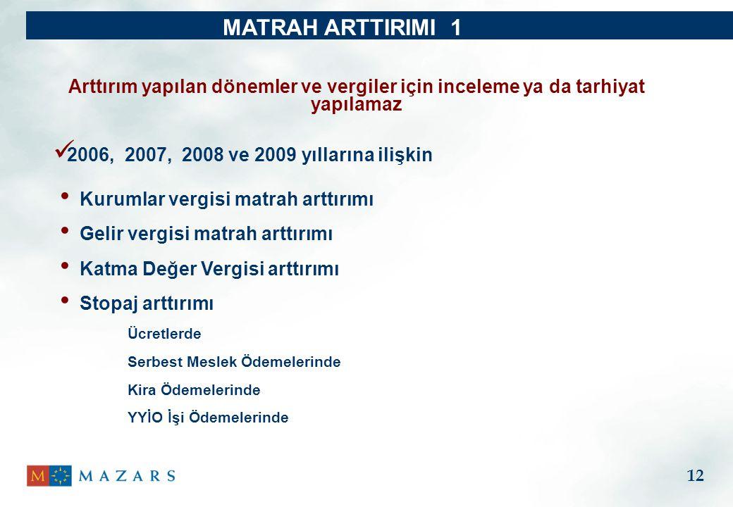 MATRAH ARTTIRIMI 1 Arttırım yapılan dönemler ve vergiler için inceleme ya da tarhiyat yapılamaz. 2006, 2007, 2008 ve 2009 yıllarına ilişkin.