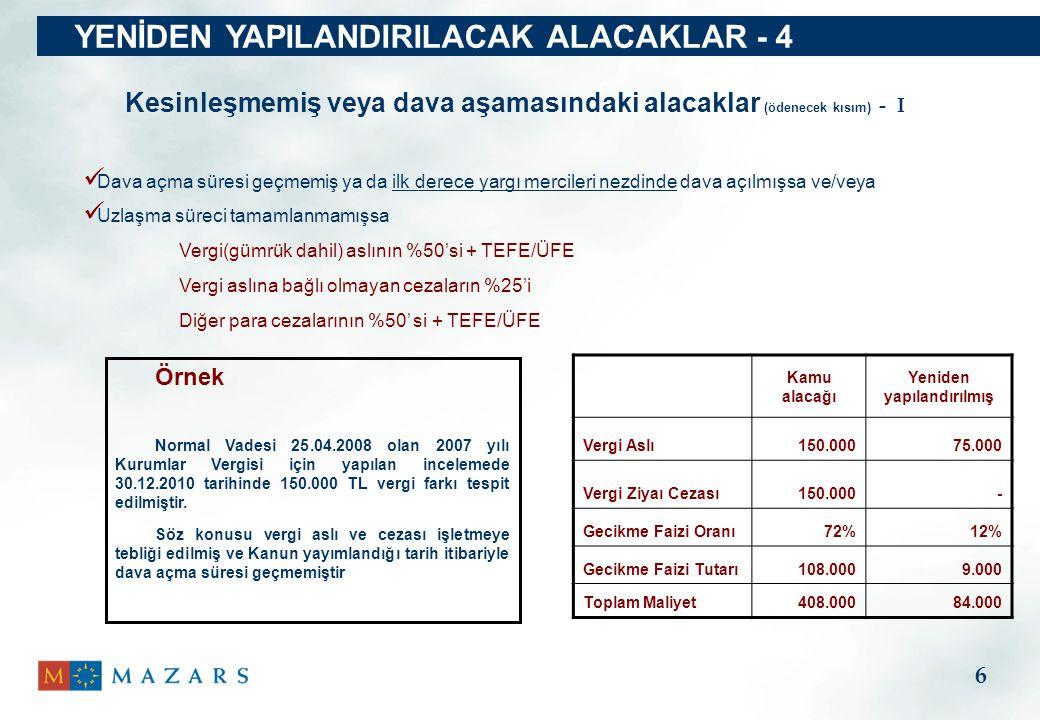 YENİDEN YAPILANDIRILACAK ALACAKLAR - 4
