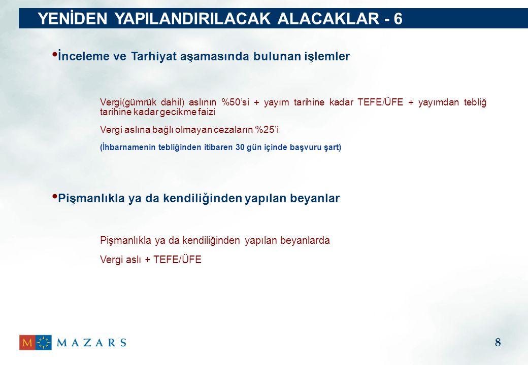 YENİDEN YAPILANDIRILACAK ALACAKLAR - 6