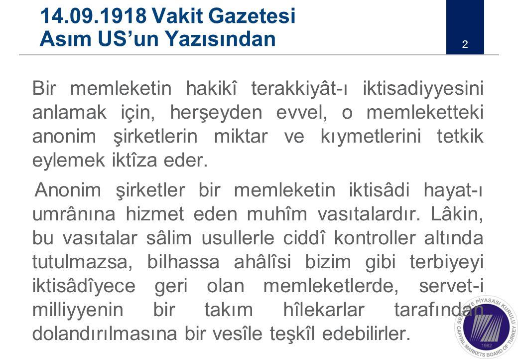 14.09.1918 Vakit Gazetesi Asım US'un Yazısından