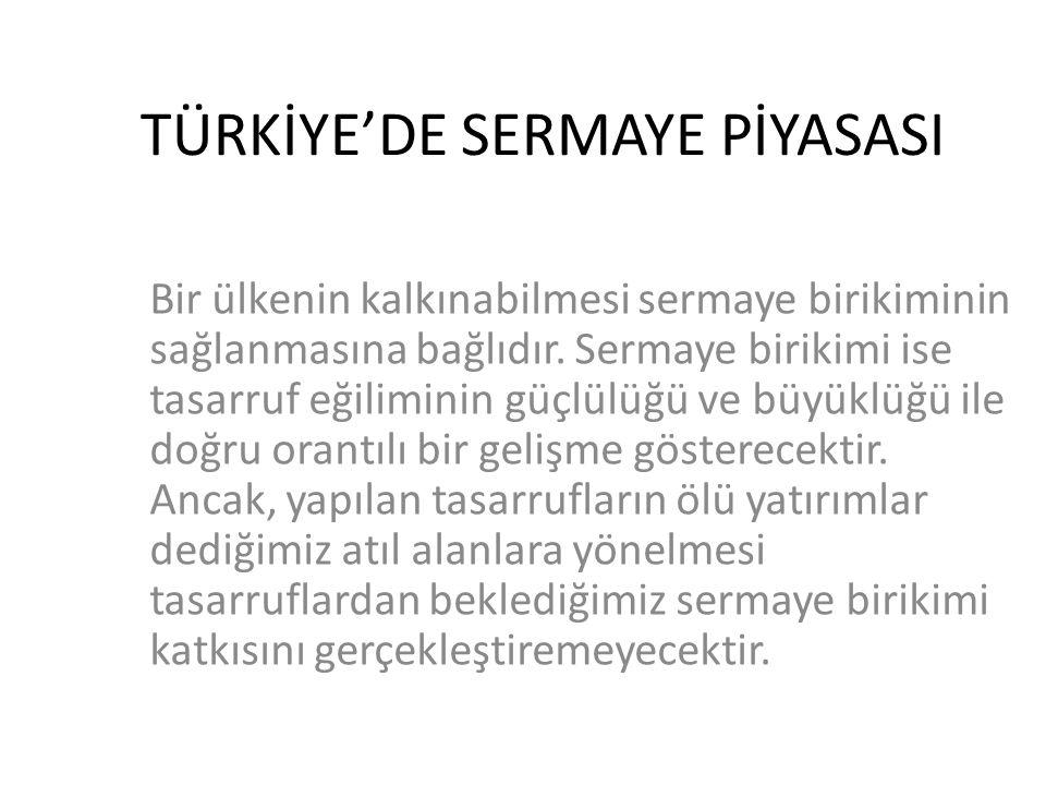 TÜRKİYE'DE SERMAYE PİYASASI