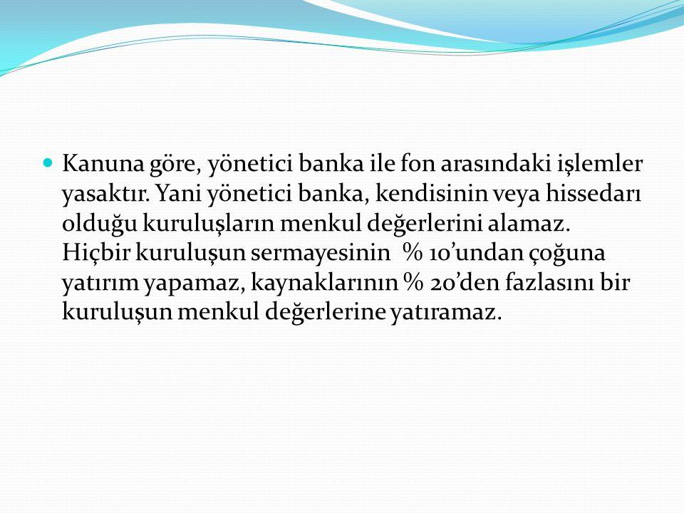 Kanuna göre, yönetici banka ile fon arasındaki işlemler yasaktır
