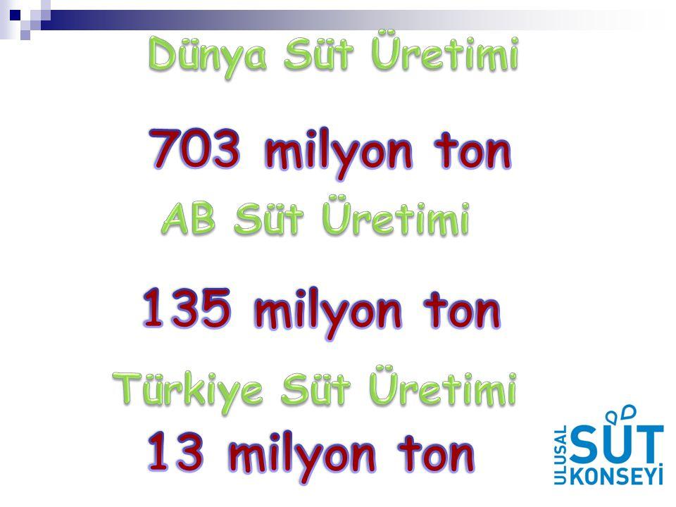 703 milyon ton 135 milyon ton 13 milyon ton