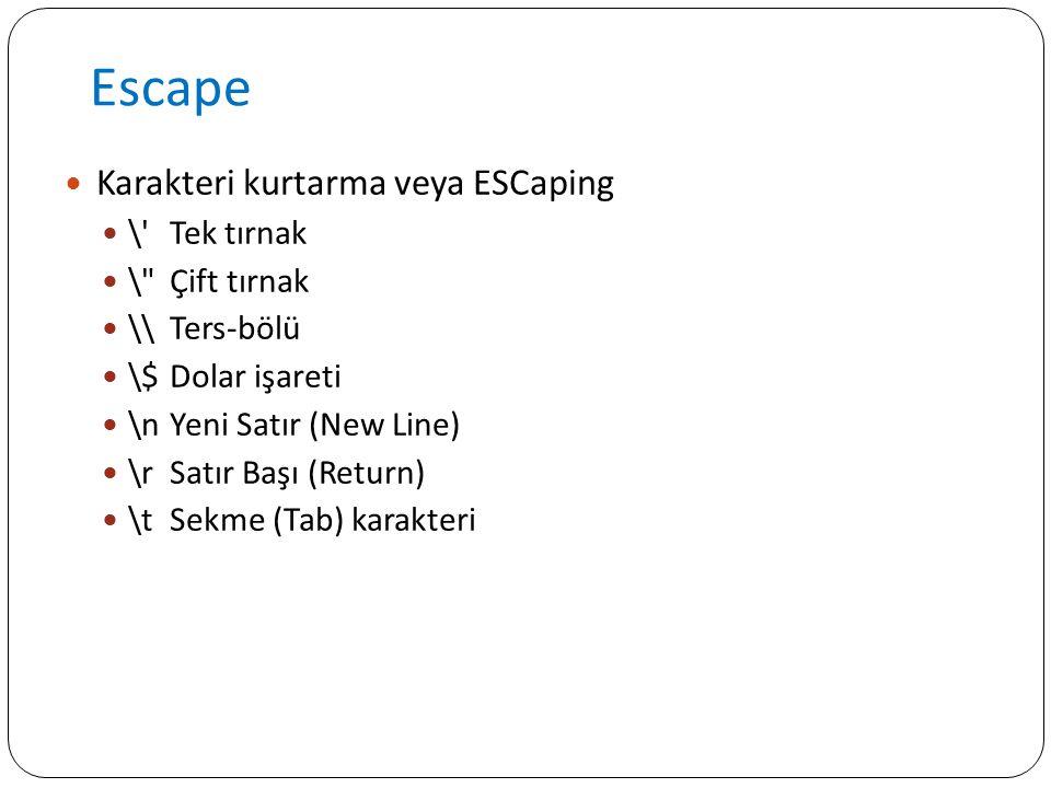 Escape Karakteri kurtarma veya ESCaping \ Tek tırnak \ Çift tırnak