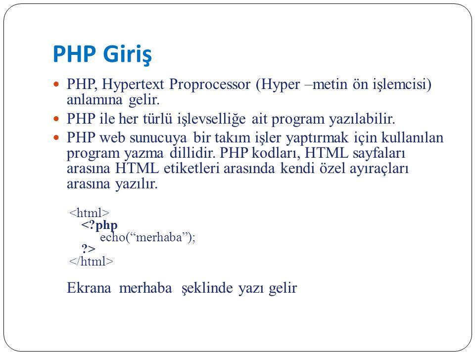PHP Giriş PHP, Hypertext Proprocessor (Hyper –metin ön işlemcisi) anlamına gelir. PHP ile her türlü işlevselliğe ait program yazılabilir.