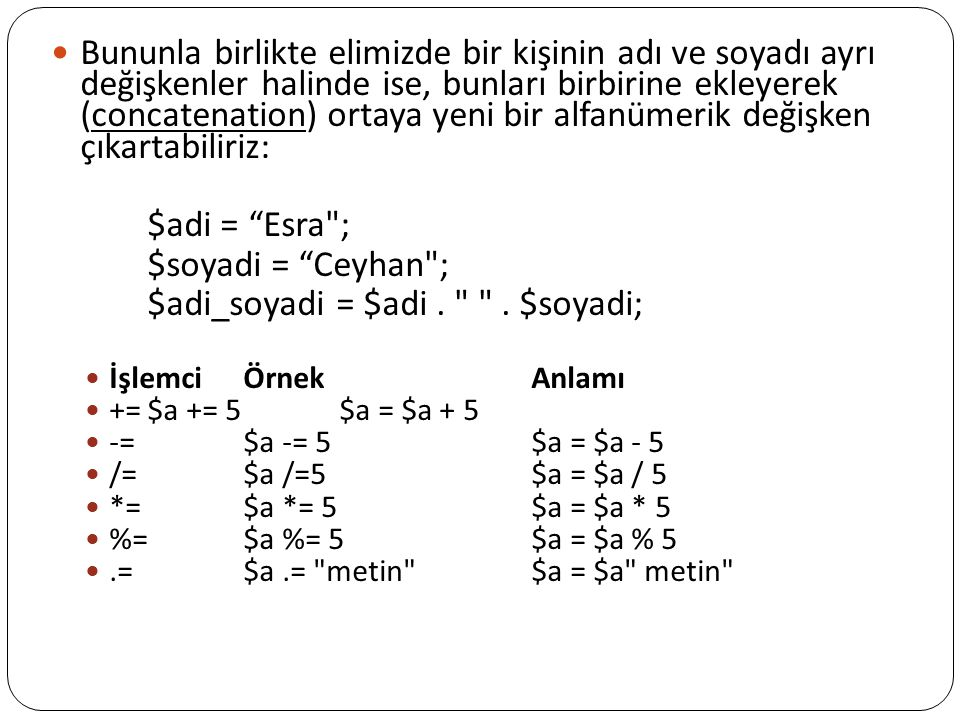 $adi_soyadi = $adi . . $soyadi;