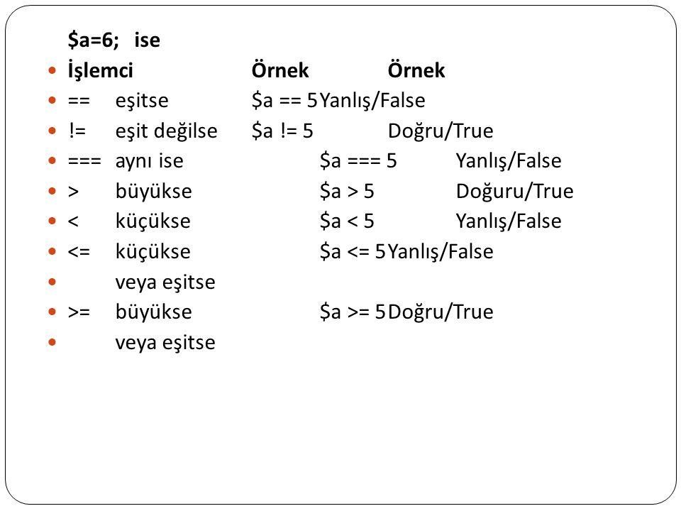 $a=6; ise İşlemci Örnek Örnek. == eşitse $a == 5 Yanlış/False. != eşit değilse $a != 5 Doğru/True.