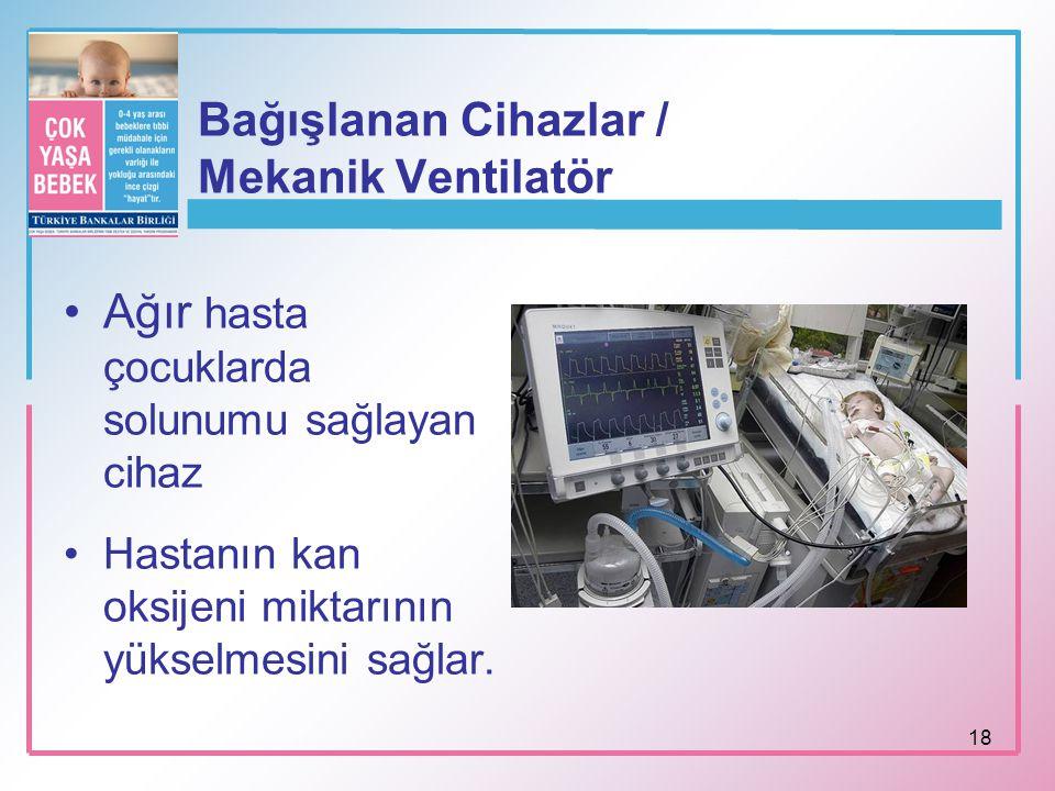 Bağışlanan Cihazlar / Mekanik Ventilatör