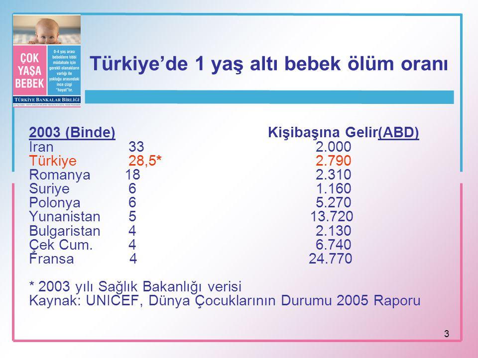 Türkiye'de 1 yaş altı bebek ölüm oranı