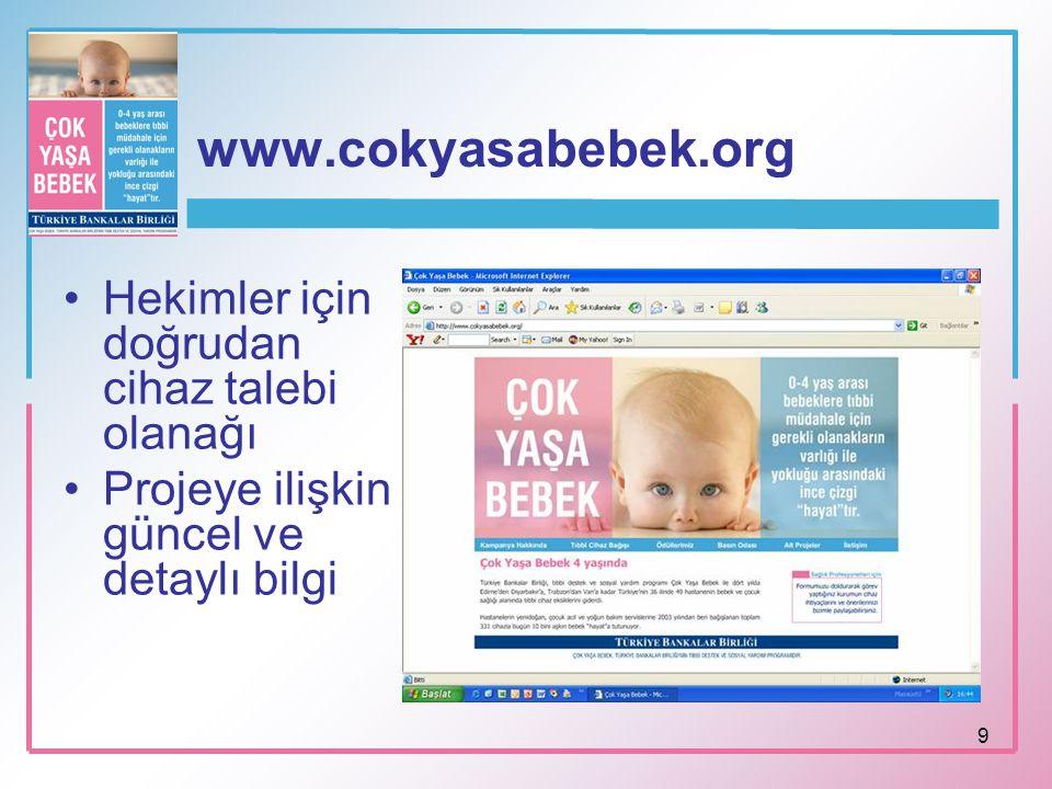 www.cokyasabebek.org Hekimler için doğrudan cihaz talebi olanağı