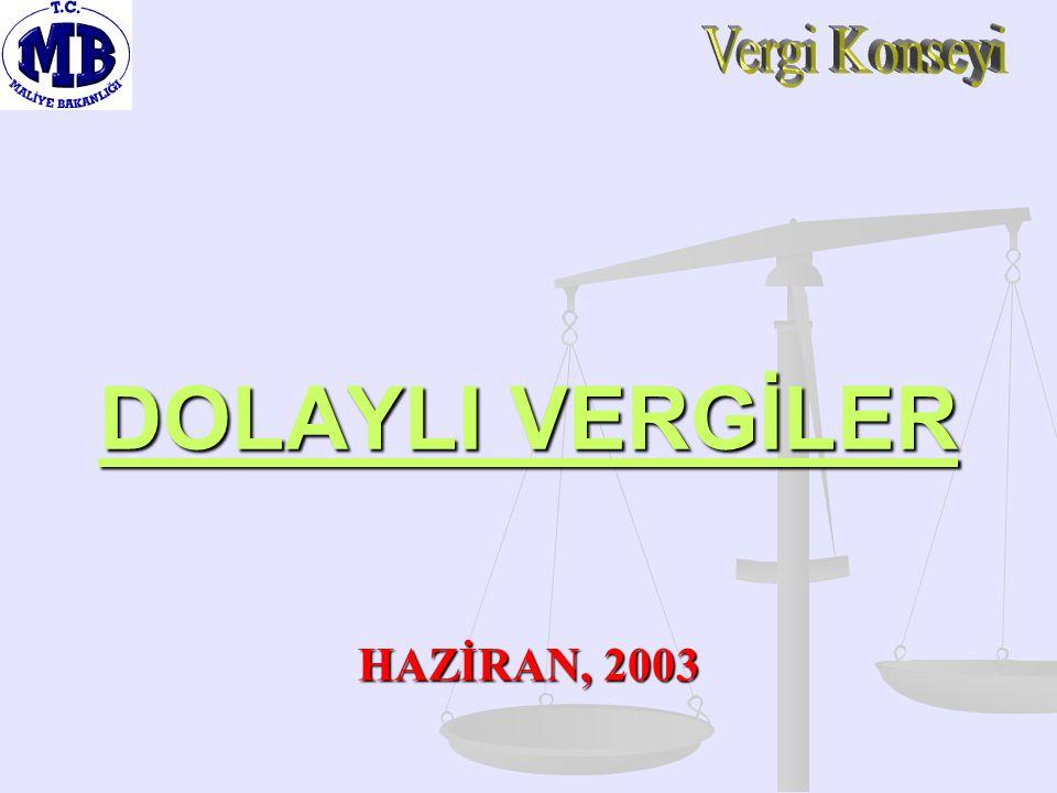 Vergi Konseyi DOLAYLI VERGİLER HAZİRAN, 2003
