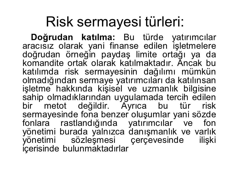 Risk sermayesi türleri: