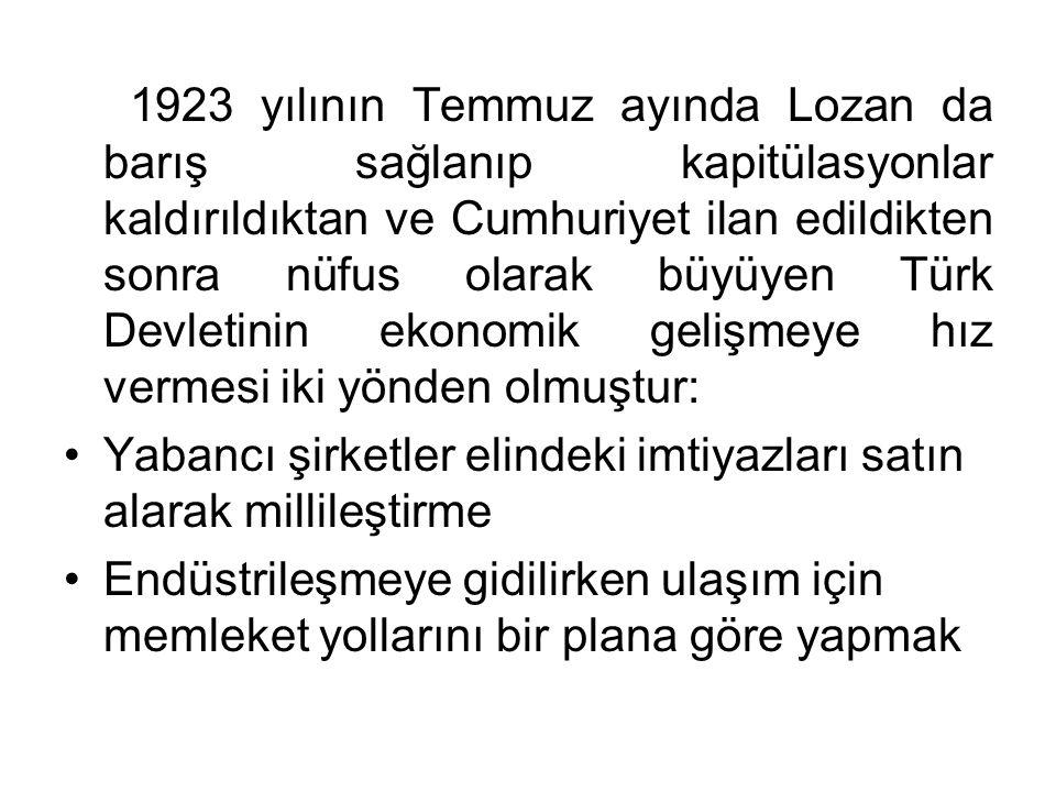 1923 yılının Temmuz ayında Lozan da barış sağlanıp kapitülasyonlar kaldırıldıktan ve Cumhuriyet ilan edildikten sonra nüfus olarak büyüyen Türk Devletinin ekonomik gelişmeye hız vermesi iki yönden olmuştur: