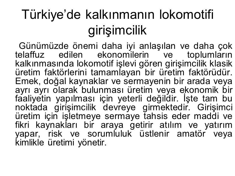 Türkiye'de kalkınmanın lokomotifi girişimcilik