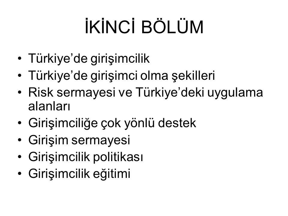 İKİNCİ BÖLÜM Türkiye'de girişimcilik