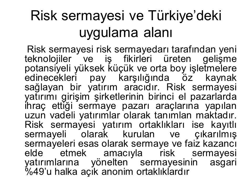 Risk sermayesi ve Türkiye'deki uygulama alanı