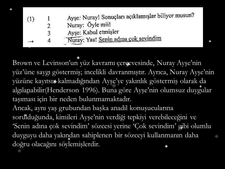 Brown ve Levinson'un yüz kavramı çerçevesinde, Nuray Ayşe'nin yüz'üne saygı göstermiş; incelikli davranmıştır. Ayrıca, Nuray Ayşe'nin yüzüne kayıtsız kalmadığından Ayşe'ye yakınlık göstermiş olarak da algılanabilir(Henderson 1996). Buna göre Ayşe'nin olumsuz duygular taşıması için bir neden bulunmamaktadır.
