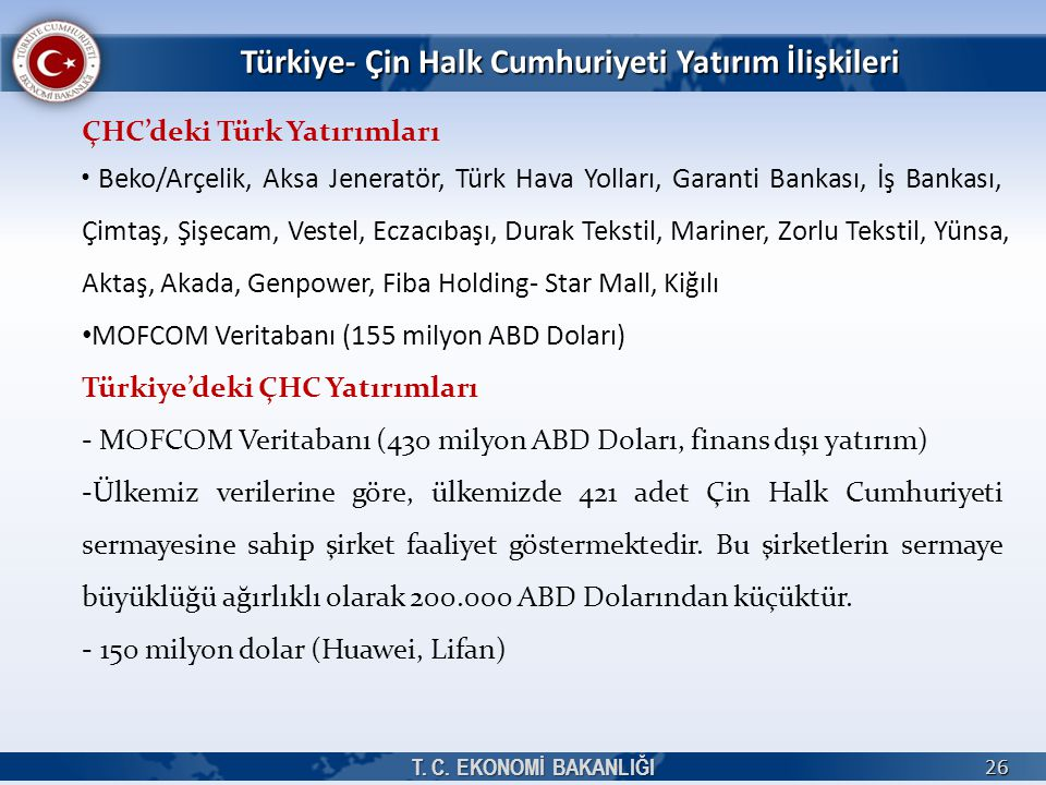 Türkiye- Çin Halk Cumhuriyeti Yatırım İlişkileri