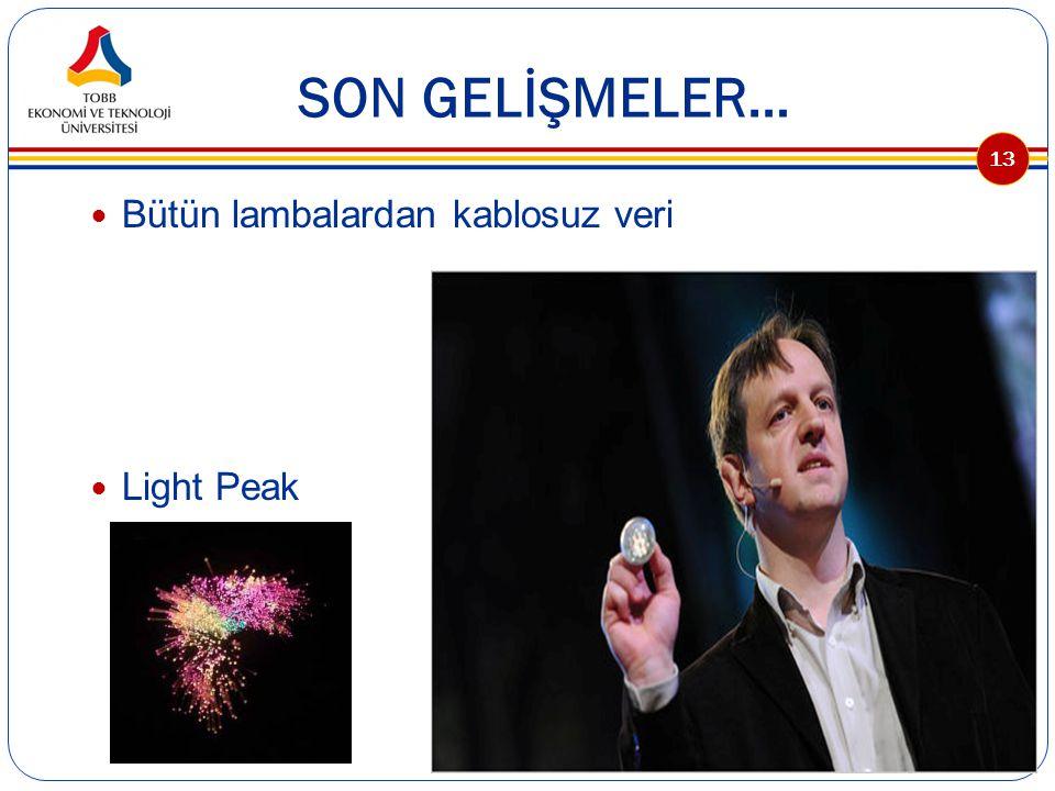 SON GELİŞMELER… Bütün lambalardan kablosuz veri Light Peak