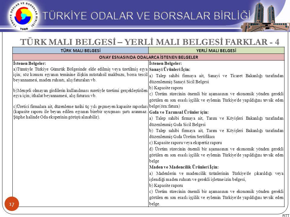 TÜRK MALI BELGESİ – YERLİ MALI BELGESİ FARKLAR - 4