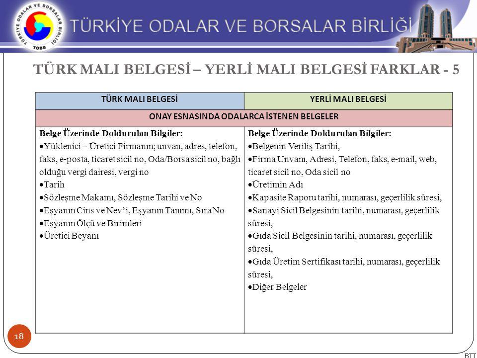 TÜRK MALI BELGESİ – YERLİ MALI BELGESİ FARKLAR - 5