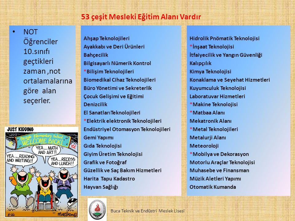 53 çeşit Mesleki Eğitim Alanı Vardır