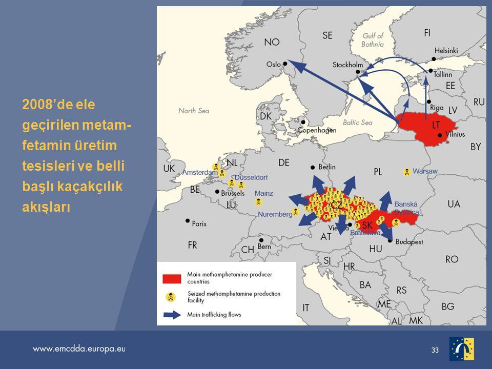 2008'de ele geçirilen metam-fetamin üretim tesisleri ve belli başlı kaçakçılık akışları