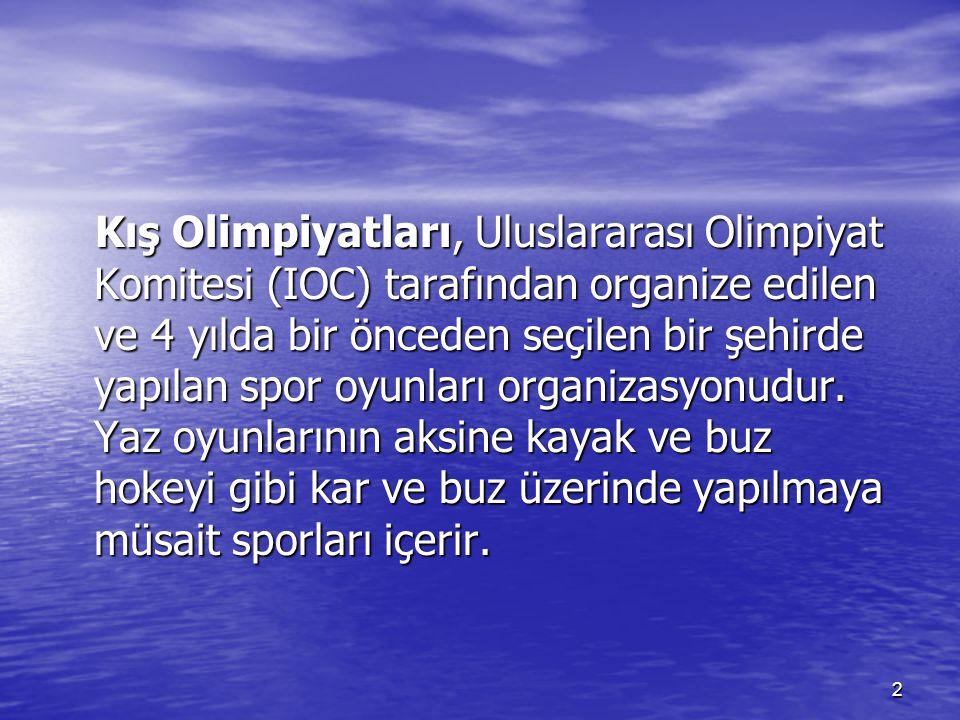 Kış Olimpiyatları, Uluslararası Olimpiyat Komitesi (IOC) tarafından organize edilen ve 4 yılda bir önceden seçilen bir şehirde yapılan spor oyunları organizasyonudur.