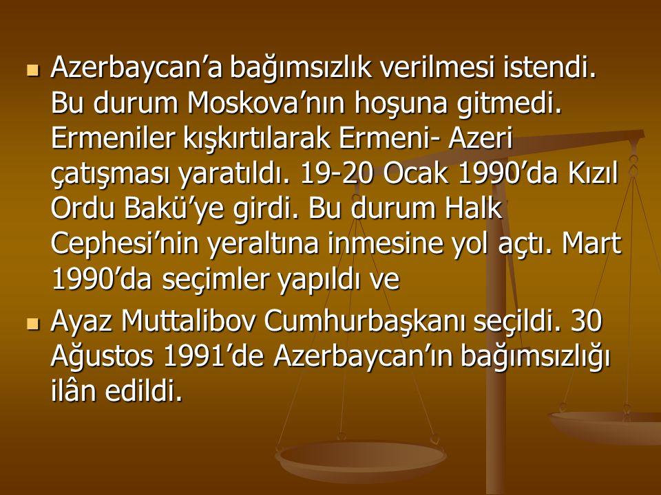 Azerbaycan'a bağımsızlık verilmesi istendi
