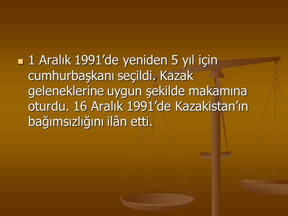 1 Aralık 1991'de yeniden 5 yıl için cumhurbaşkanı seçildi