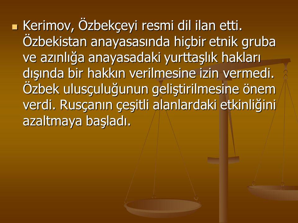 Kerimov, Özbekçeyi resmi dil ilan etti
