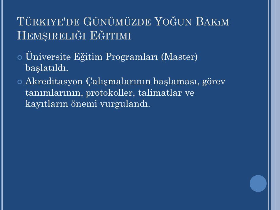 Türkiye de Günümüzde Yoğun Bakım Hemşireliği Eğitimi