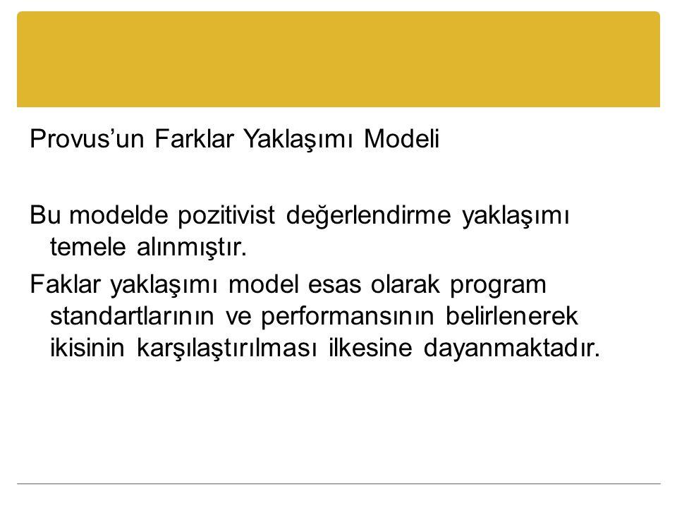 Provus'un Farklar Yaklaşımı Modeli Bu modelde pozitivist değerlendirme yaklaşımı temele alınmıştır.