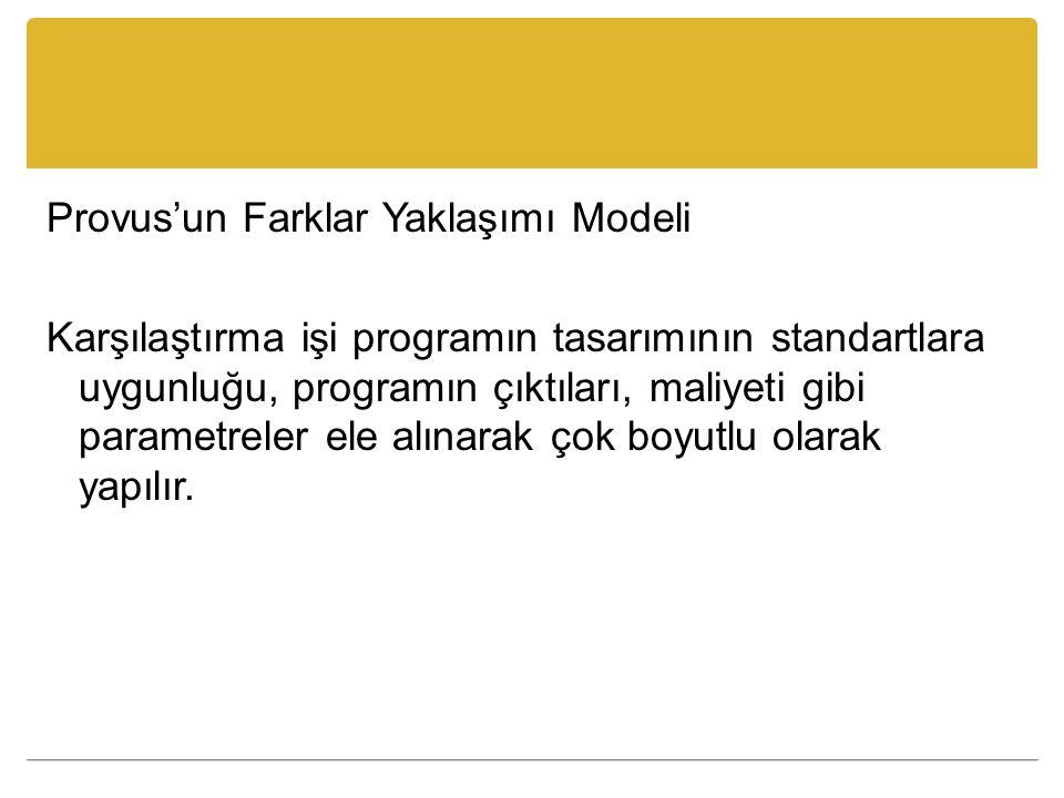 Provus'un Farklar Yaklaşımı Modeli Karşılaştırma işi programın tasarımının standartlara uygunluğu, programın çıktıları, maliyeti gibi parametreler ele alınarak çok boyutlu olarak yapılır.