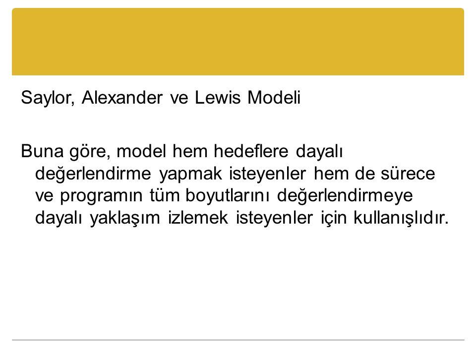 Saylor, Alexander ve Lewis Modeli Buna göre, model hem hedeflere dayalı değerlendirme yapmak isteyenler hem de sürece ve programın tüm boyutlarını değerlendirmeye dayalı yaklaşım izlemek isteyenler için kullanışlıdır.