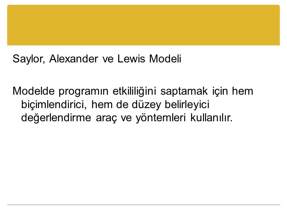 Saylor, Alexander ve Lewis Modeli Modelde programın etkililiğini saptamak için hem biçimlendirici, hem de düzey belirleyici değerlendirme araç ve yöntemleri kullanılır.