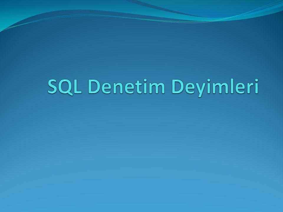 SQL Denetim Deyimleri