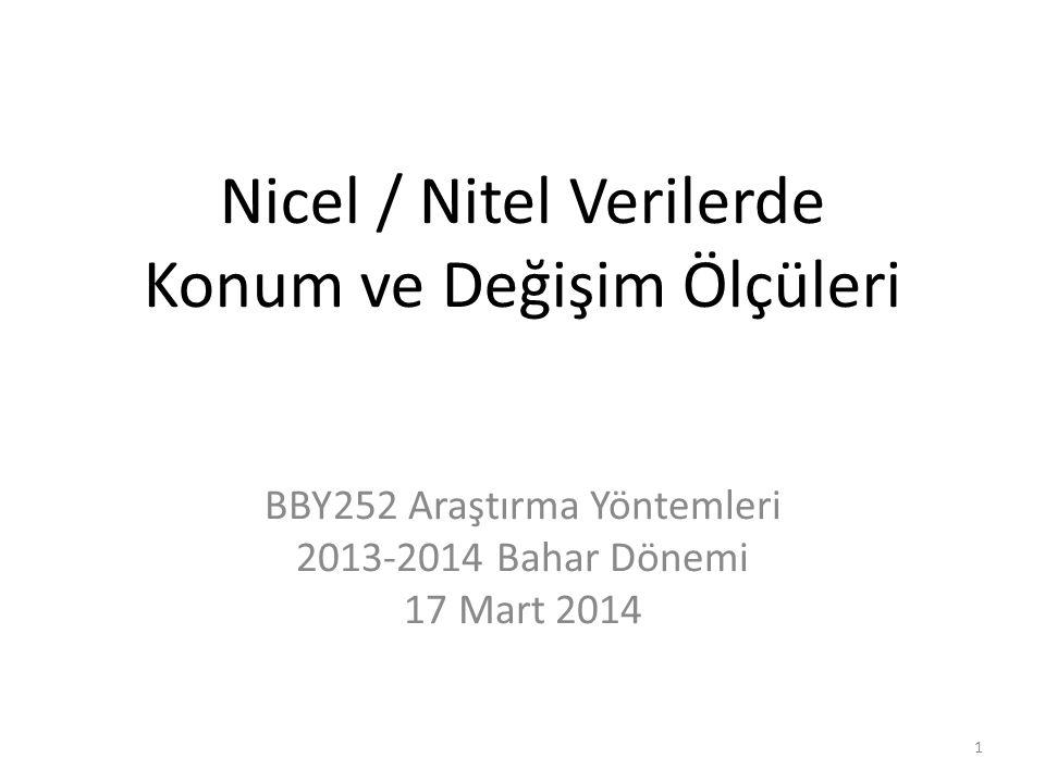 Nicel / Nitel Verilerde Konum ve Değişim Ölçüleri