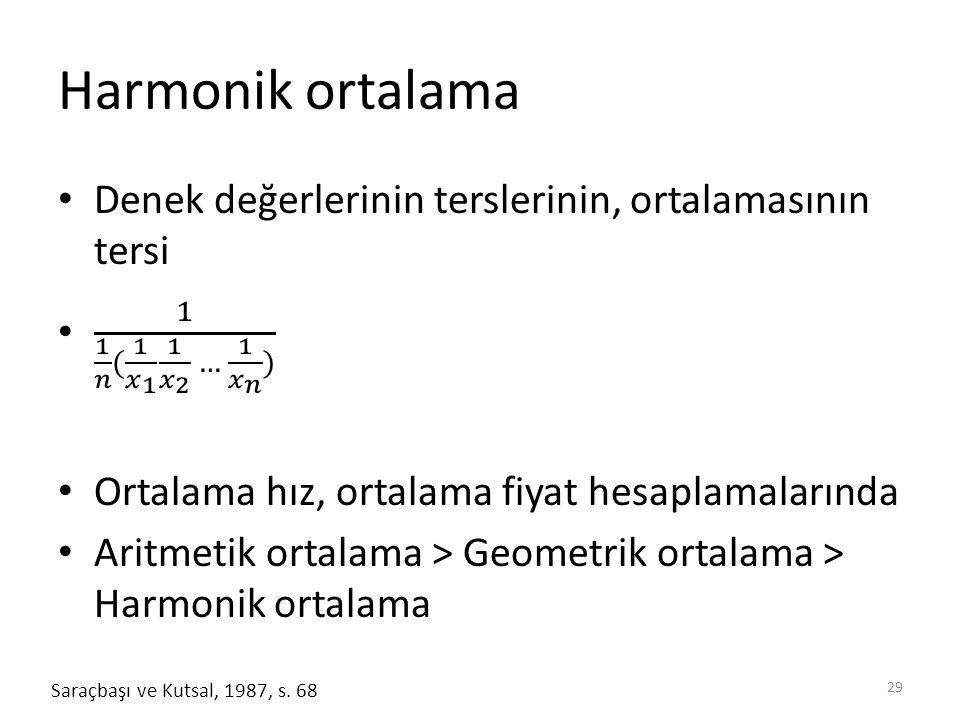 Harmonik ortalama Denek değerlerinin terslerinin, ortalamasının tersi