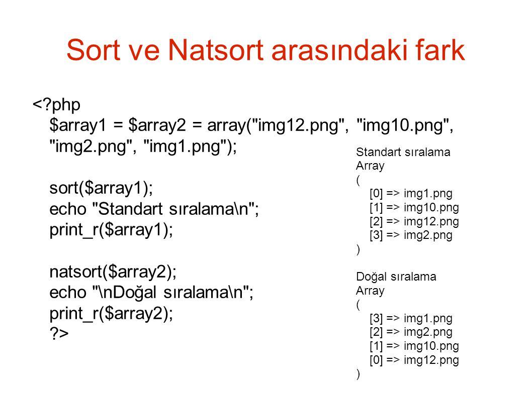 Sort ve Natsort arasındaki fark