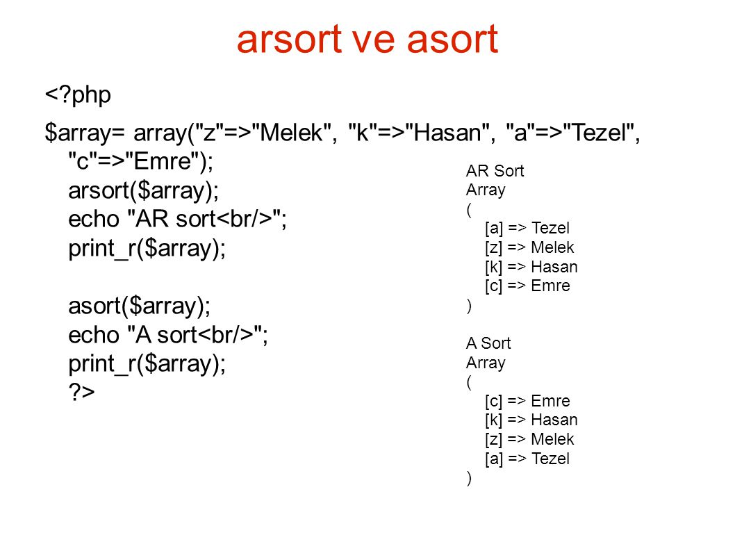 arsort ve asort < php